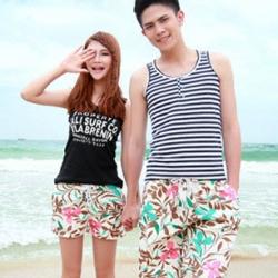 PRE กางเกงขาสั้นคู่รัก Couple beach pant ลายดอกไม้ใบไม้สวยหวานน่ารัก
