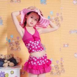 พร้อมส่ง ชุดว่ายน้ำเด็กผู้หญิง ชุดว่ายน้ำ Tankini สายคล้องคอ ลายดอกไม้สีสดใส กางเกงกระโปรงแต่งระบายเป็นชั้นๆ