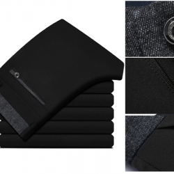 เล็ก+ใหญ่ กางเกงเดฟ ทำงาน เข้ารูป แต่งเทปเอว กระเป๋า เทา เอว No.28-38 น้ำเงิน ดำ