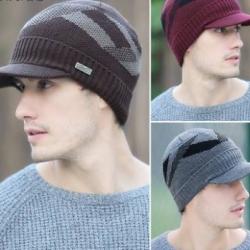 หมวกไหมพรมกันหนาว +หมวกแก๊บมีปีก ลายกราฟฟิค สีเทา ดำ น้ำเงิน แดง น้ำตาล