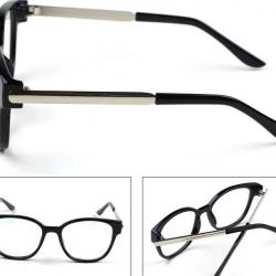 กรอบแว่นตาแฟชั่น เรโทรกรอบ PL ขาเงาพับเข้ามุม (ดำด้าน)