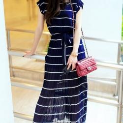 พร้อมส่ง Maxi dress ผ้าชีฟอง แขนสั้น ลายทาง กระโปรงยาวพลิ้วสวย อัดพลีท จั๊มเอว