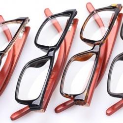 กรอบแว่นสายตาใหญ่ ขาไม้ ทูโทน No.5 (ดำด้าน ชา กระ )