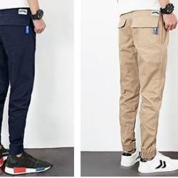 กางเกงขาจั๊ม แนวๆ jogg เอวยืด กระเป๋าฟลิบ สีเขียว ดำ เบจ น้ำเเงิน size 25-38