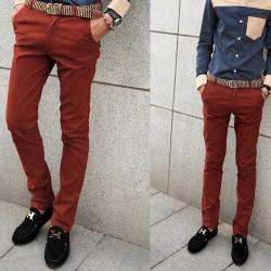 กางเกงสแล็คแฟชั่น ทรงสลิมฟิต เดฟ เอวต่า No.30-35 เขียวอมฟ้า แดงอิฐ