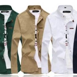 ซื้อคู่สุดค้ม1250ใหญ่หลากสี!!เสื้อเชิ้ตคอจีนแขนยาว แต่งหมุดทอง สลิมฟิต แฟชั่น สีดำ เขียว กากี ขาว น้ำเงิน No.40 41.5 43 45