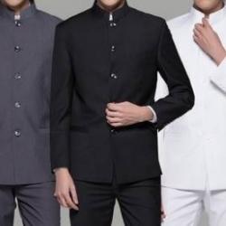 สีพิเศษ!!ชุดสูท คอจีนVIP เสื้อ+กางเกง Size No.36 38 40 42 44 46 ดำ เทา ขาว น้ำเงิน