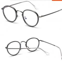 หลากสี! แว่นตาแฟชั่น เรโทร วินเทจ กลมขอบ TR90 (กรอบ ดำล้วน ใสเงิน ดำทอง กระทอง เทาลาย )