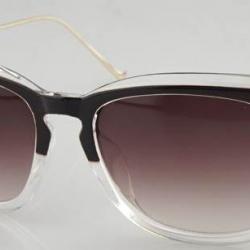 กรอบแว่นตากันแดดแฟชั่นแบบ pentagon (สีชากึ่งใส ชาล้วน)