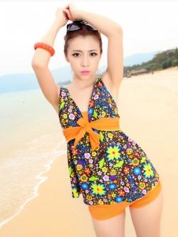 พร้อมส่ง ชุดว่ายน้ำ Tankini เสื้อลายดอกไม้สวย กางเกงสีส้มอ่อน สีสันสดใส