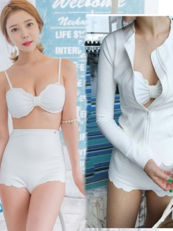 ชุดว่ายน้ำแขนยาว เอวสูง สีขาวสวย เซ็ต 3 ชิ้น (บรา+เอวสูง+เสื้อคลุมแขนยาวมีซิป)