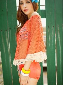 พร้อมส่ง ชุดว่ายน้ำบิกินี่ เซ็ต 3 ชิ้น บราลายสวย+กางเกงขาสั้นสีส้ม+เสื้อคลุมผ้าตาข่าย