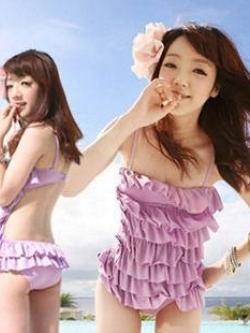 พร้อมส่ง ชุดว่ายน้ำวันพีซ Monokini สายเสื้อเดี่ยว แต่งระบายด้านหน้า หลังเว้าลึก น่ารักสไตล์เกาหลี