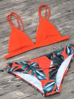 พร้อมส่ง ชุดว่ายน้ำ บิกินี่ทูพีซ บราสีส้มสดใส บิกินี่ลายใบไม้สวยๆ