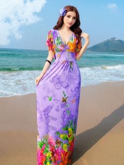พร้อมส่ง สีม่วง คอวีลึก ลายดอกไม้สีสัน สม๊อค ช่วงเอว สวยมากๆค่ะ