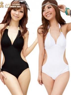 พร้อมส่ง ชุดว่ายน้ำวันพีซ Monokini สายคล้องคอแบบผูก เว้าช่วงเอว ดูเซ็กซี่มากๆ