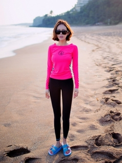 ชุดว่ายน้ำขายาว+แขนยาว เสื้อสีชมพูบานเย็น+บิกินี่+กก.ขายาว เซ็ต 3 ชิ้น