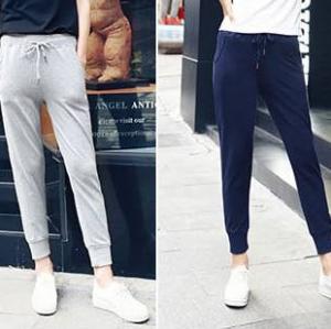 4สี!!กางเกงsweat pantsผู้หญิงขา5ส่วน ขาจั๊ม เอวรูด ออกกำลังกาย ฟิตเนส สี ดำ เทา น้ำเงิน เทาอ่อน No.27-35