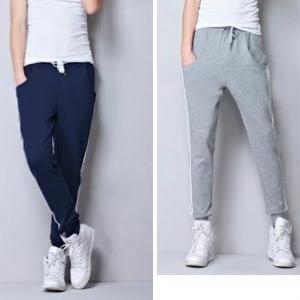 ใหม่ ช-ญ 3สี2แบบ!!กางเกงผ้าฝ้ายขายาวขาจั๊ม ทูโทน แต่งเทปข้าง เอวจั๊ม รูด สีดำ น้ำเงิน เทา size สูง160-185cm