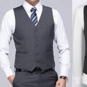3สี เล็ก+ใหญ่ เสื้อกั๊กสูทสลิมฟิต มาตรฐาน กระดุม5เม็ด สี ดำ น้ำเงิน เทาเข้ม เทาอ่อน Size No.33 35 37 39 41