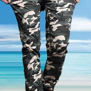 กางเกงทหารขาจั๊ม ขาเล็ก ลายพรางทหาร สกินนี่ สีเขียวฟ้า ขาวเทา No. 28-38
