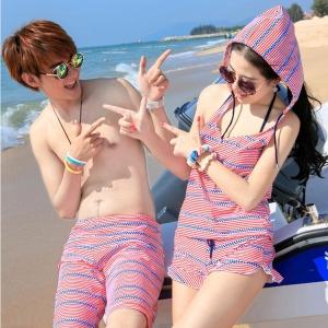 PRE ชุดว่ายน้ำคู่รัก หญิง เซ็ต 4 ชิ้น บรา บิกินี่ เสื้อคลุม กางเกงขาสั้น ชายกางเกงขาสั้น