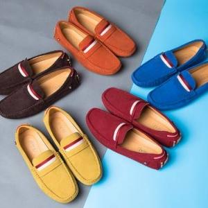 รองเท้าหนังกลับ loafer หลากสี แฟชั่น แบบคาดแดง สี ฟ้า เหลือง แดง กากี น้ำตาล เบอร์ 37-44
