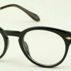 กรอบแว่นตาแฟชั่น เรโทร วินเทจ แบบกลม แนวmos สีดำเงา)