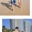 เสื้อคู่รัก ชุดคู่รักเที่ยวทะเลชาย +หญิง เสื้อยืดสีขาวลายคู่รักขับรถเที่ยวชายหาด กางเกงขาสั้นลายต้นมะพร้าวโทนสีฟ้า +พร้อมส่ง+ thumbnail 4