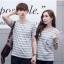 +พร้อมส่ง+ เสื้อคู่รักเกาหลี แฟชั่นคู่รัก ชายหญิง เสื้อยืดคอกลม ลายริ้ว สีเทาสลับขาว thumbnail 1