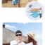 เสื้อคู่รัก ชุดคู่รักเที่ยวทะเลชาย +หญิง เสื้อยืดสีขาวลายเกาะทะเล กางเกงขาสั้นโทนสีฟ้าสลับชมพู+พร้อมส่ง+ thumbnail 6