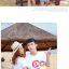 เสื้อคู่รัก ชุดคู่รักเที่ยวทะเลชาย +หญิง เสื้อยืดสีขาวลาย LO VE กางเกงขาสั้นลายเส้น +พร้อมส่ง+ thumbnail 3