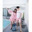 ชุดเสื้อคู่รักเที่ยวทะเล ชายเสื้อยืดพร้อมกางเกงขาสั้น + เดรสแขนยาว สีชมพู แต่งลายดอกไม้ +พร้อมส่ง สำเนา thumbnail 13