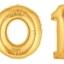 """ลูกโป่งฟลอย์รูปตัวเลข 6 สีทอง ไซส์จัมโบ้ 40 นิ้ว - Number 6 Shape Foil Balloon Size 40"""" Gold Color thumbnail 2"""