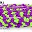 ปอมเส้นยาว สีม่วงเปลือกมังคุด- เขียวอ่อนตอง กว้าง 2ซม (1พับ/18หลา) thumbnail 1
