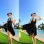 พร้อมส่ง สีดำ ชุดว่ายน้ำทรงชุดแซก สายคล้องคอ สีพื้นสวยๆ ปลายกระโปรงฟันปลา เซ็ต 2 ชิ้น thumbnail 1