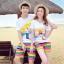 เสื้อคู่รัก ชุดคู่รักเที่ยวทะเลชาย +หญิง เสื้อยืดสีขาวลายคนยืนดูท้องฟ้า กางเกงขาสั้นลายแถบสี โทนสีรุ้ง +พร้อมส่ง+ thumbnail 1
