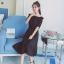 เสื้อผ้าแฟชั่นสไตส์เกาหลี เดรสเกาะอก สีดำ แต่งจั้มเอว +พร้อมส่ง+ thumbnail 4