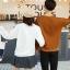 เสื้อแขนยาวคู่รัก เสื้อผ้าแฟชั่น ชาย เสื้อสีน้ำตาล +หญิง เสื้อแขนยาว สีขาว แต่งลายพระอาทิตย์ +พร้อมส่ง+ thumbnail 5