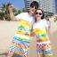 เสื้อคู่รัก ชุดคู่รักเที่ยวทะเลชาย +หญิง เสื้อยืดสีขาวลายคู่รักขับรถเที่ยวชายหาด กางเกงขาสั้นลายไทยโทนสีส้ม +พร้อมส่ง+ thumbnail 1