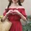 เสื้อผ้าแฟชั่นสไตส์เกาหลี เดรสเกาะอก สีแดง แต่งจั้มเอว +พร้อมส่ง+ thumbnail 9