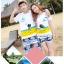 เสื้อคู่รัก ชุดคู่รักเที่ยวทะเลชาย +หญิง เสื้อยืดสีขาวลายคนนั่งมองดูนก กางเกงขาสั้นโทนสีกรมม่วง +พร้อมส่ง+ thumbnail 2
