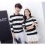 เสื้อแขนยาวคู่รัก เสื้อผ้าแฟชั่น ชาย +หญิง เสื้อแขนยาว รายริ้ว แต่งสีดำสลับสีขาว +พร้อมส่ง+ thumbnail 4