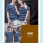 +พร้อมส่ง+ เสื้อคู่รักเกาหลี แฟชั่นคู่รัก ชายหญิง เสื้อยืดคอกลม ลายริ้ว สีน้ำเงินสลับขาว thumbnail 9