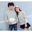 เสื้อแขนยาวคู่รัก เสื้อผ้าแฟชั่น ชาย +หญิง เสื้อแขนยาว รายริ้วเล็ก แต่งเทาสลับสีขาว +พร้อมส่ง+ thumbnail 6