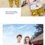 เสื้อคู่รัก ชุดคู่รักเที่ยวทะเลชาย +หญิง เสื้อยืดสีขาวลายคนยืนดูท้องฟ้า กางเกงขาสั้นลายอีโมสีเหลือง +พร้อมส่ง+ thumbnail 4