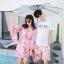 ชุดเสื้อคู่รักเที่ยวทะเล ชายเสื้อยืดพร้อมกางเกงขาสั้น + เดรสแขนยาว สีชมพู แต่งลายดอกไม้ +พร้อมส่ง สำเนา thumbnail 11