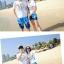 เสื้อคู่รัก ชุดคู่รักเที่ยวทะเลชาย +หญิง เสื้อยืดสีขาวคู่รักนอนอาบแดด กางเกงขาสั้นลายต้นมะพร้าวโทนสีฟ้า +พร้อมส่ง+ thumbnail 4