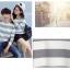 เสื้อแขนยาวคู่รัก เสื้อผ้าแฟชั่น ชาย +หญิง เสื้อแขนยาว รายริ้ว แต่งสีเทาสลับสีขาว +พร้อมส่ง+ thumbnail 5