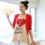 เสื้อยืดคลุมท้องพร้อมเสื้อกั้กสีแดง สกีนลายหัวใจ รหัส SH111 thumbnail 1